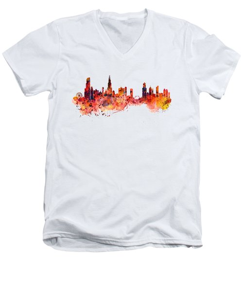 Chicago Watercolor Skyline Men's V-Neck T-Shirt by Marian Voicu