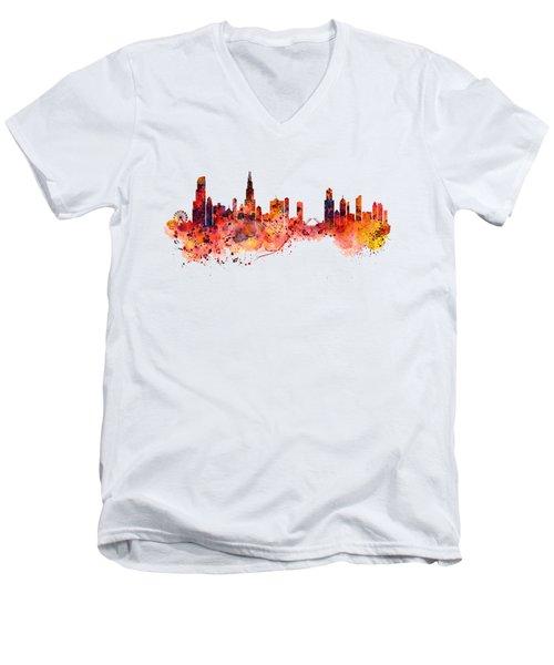 Chicago Watercolor Skyline Men's V-Neck T-Shirt