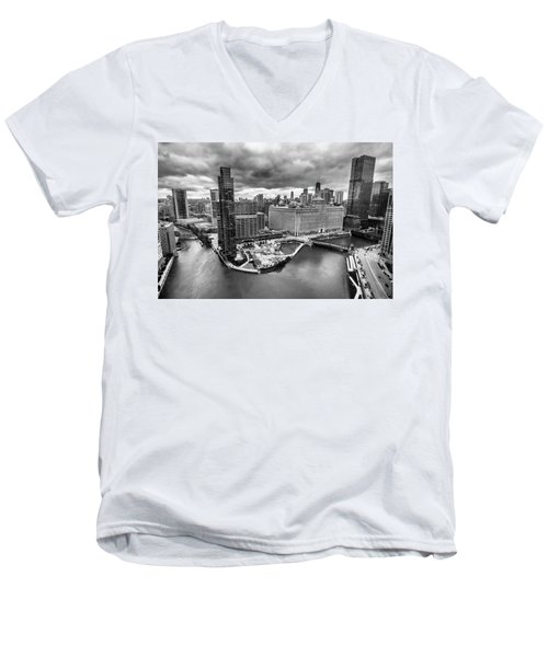 Chicago's Wolf Point From The 27th Floor Men's V-Neck T-Shirt