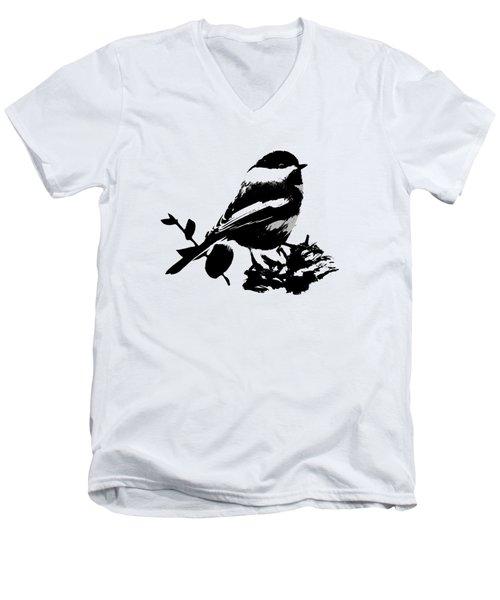 Chickadee Bird Pattern Men's V-Neck T-Shirt