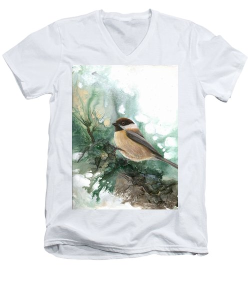Men's V-Neck T-Shirt featuring the painting Chickadee by Sherry Shipley