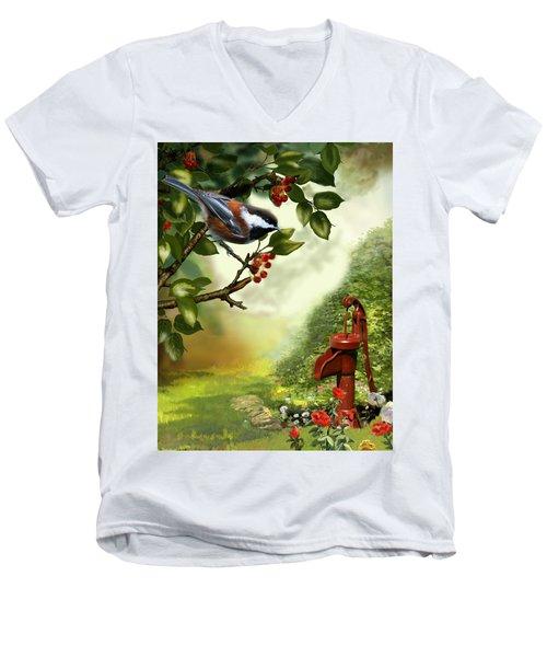 Chickadee Visiting The Water Pump Men's V-Neck T-Shirt by Regina Femrite
