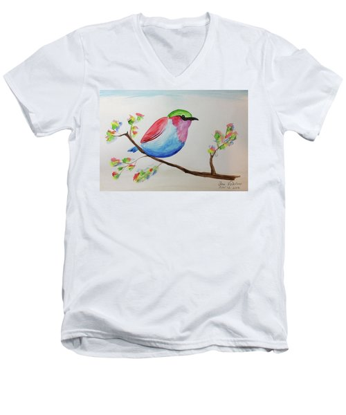 Chickadee With Green Head On A Branch Men's V-Neck T-Shirt
