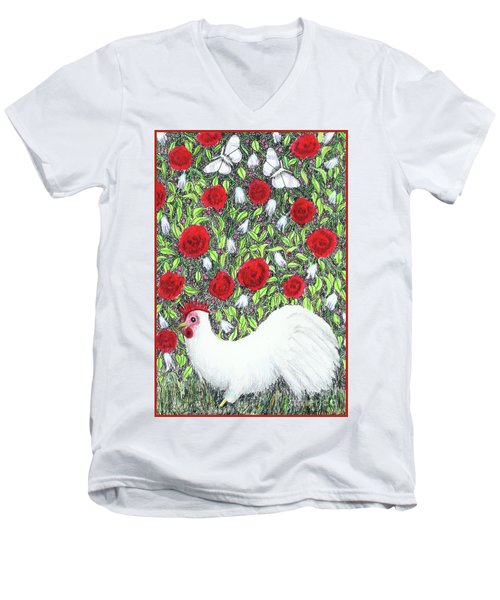 Chicken And Butterflies In The Flowers Men's V-Neck T-Shirt