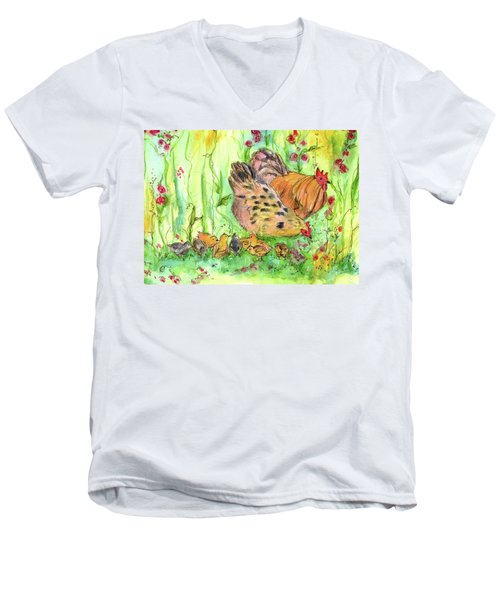 Men's V-Neck T-Shirt featuring the painting Chicken Family by Cathie Richardson