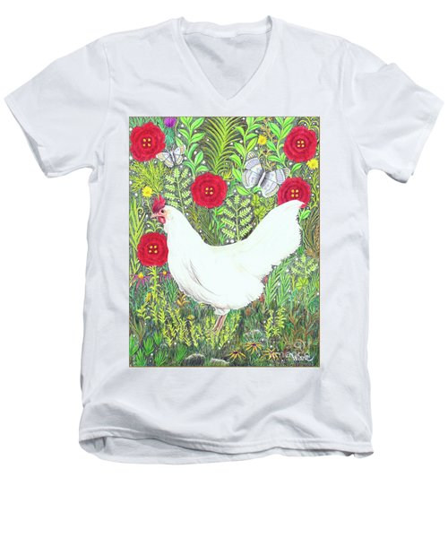 Chicken With Millefleurs And Butterflies  Men's V-Neck T-Shirt