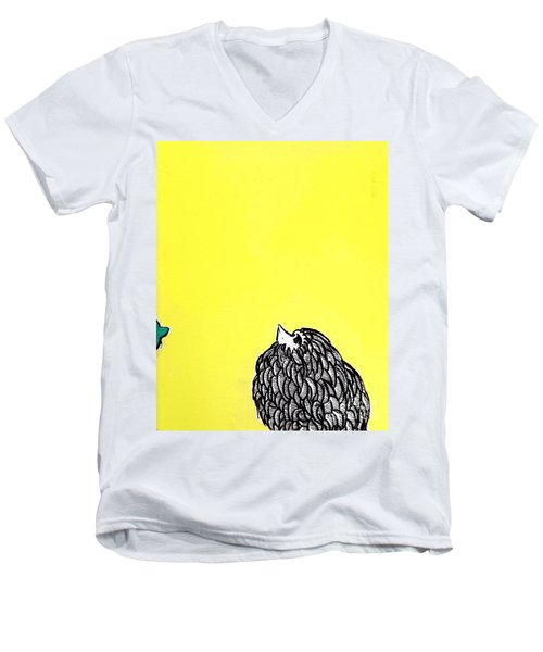 Men's V-Neck T-Shirt featuring the painting Chickens Four by Jason Tricktop Matthews