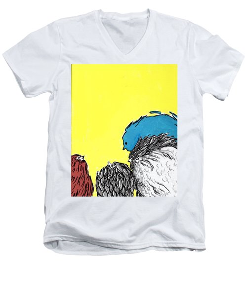 Men's V-Neck T-Shirt featuring the painting Chickens One by Jason Tricktop Matthews