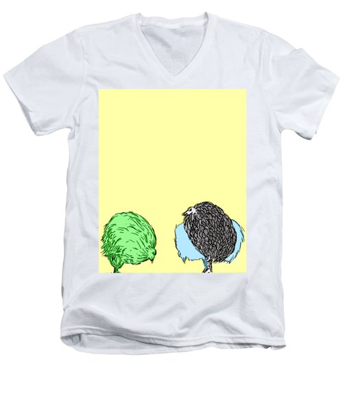 Men's V-Neck T-Shirt featuring the painting Chickens Three by Jason Tricktop Matthews