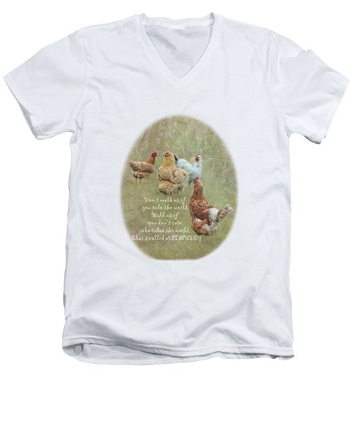 Chickens With Attitude On A Transparent Background Men's V-Neck T-Shirt by Terri Waters