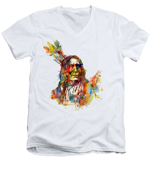 Chief Mojo Watercolor Men's V-Neck T-Shirt by Marian Voicu