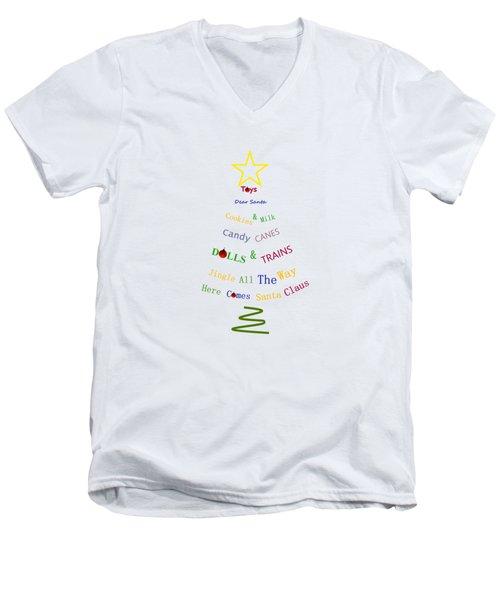 Children Holiday Tree - Christmas Typography Men's V-Neck T-Shirt