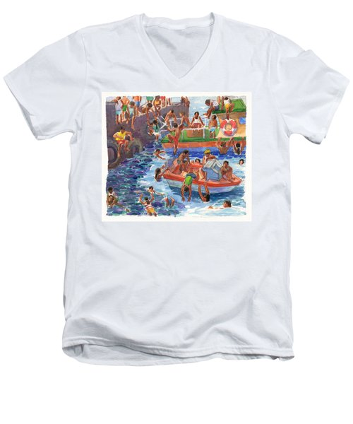 Children Playing At Avarua Wharf  Men's V-Neck T-Shirt