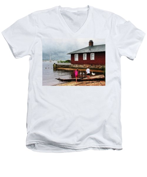 Children Playing At Harbor Essex Ct Men's V-Neck T-Shirt by Susan Savad