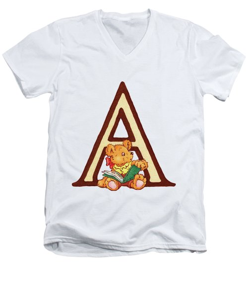 Children's Letter A Men's V-Neck T-Shirt