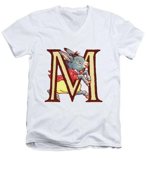 Children's Letter M Men's V-Neck T-Shirt by Andrea Richardson