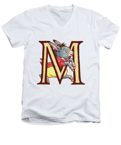 Children's Letter M Men's V-Neck T-Shirt
