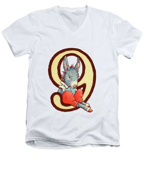 Children's Number 9 Men's V-Neck T-Shirt by Andrea Richardson