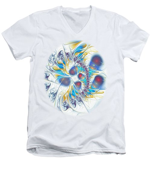 Men's V-Neck T-Shirt featuring the digital art Child's Play by Anastasiya Malakhova