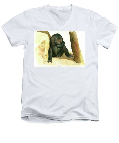 Chimp Men's V-Neck T-Shirt by Juan Bosco