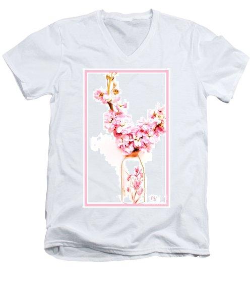Men's V-Neck T-Shirt featuring the digital art Chinese Bouquet by Marsha Heiken