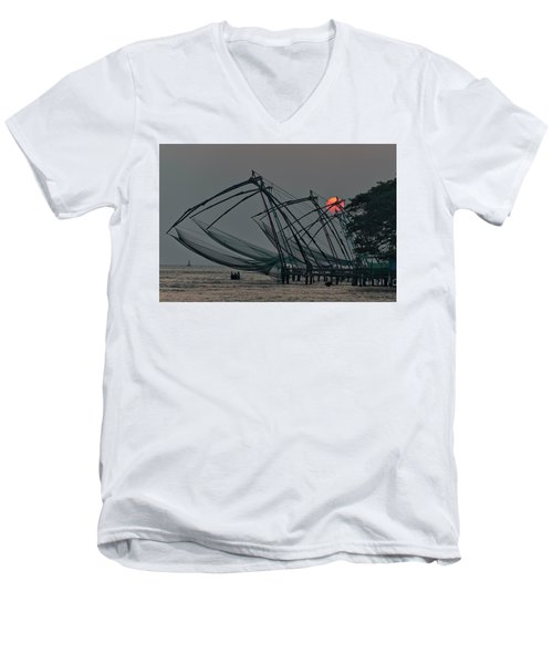 Chinese Fishing Nets, Cochin Men's V-Neck T-Shirt by Marion Galt