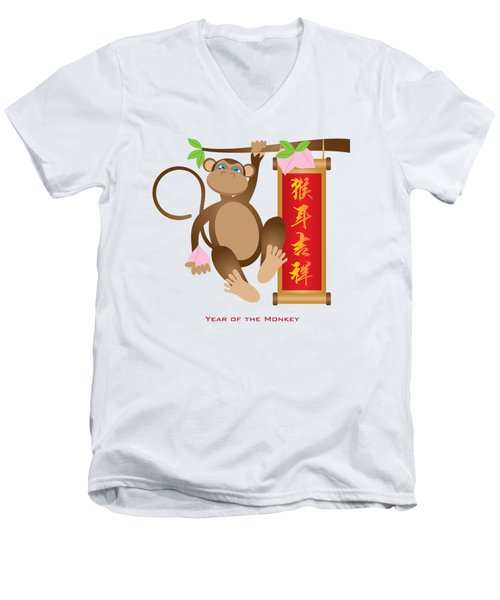 Chinese Year Of The Monkey With Peach And Banner Illustration Men's V-Neck T-Shirt