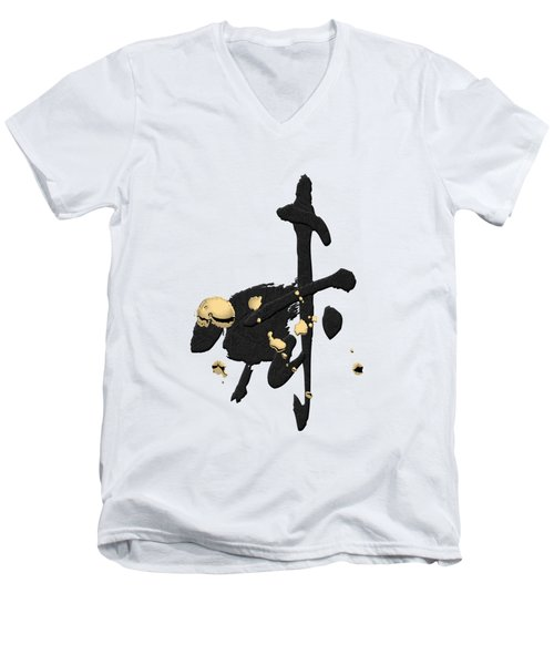 Chinese Zodiac - Year Of The Goat On Rice Paper Men's V-Neck T-Shirt