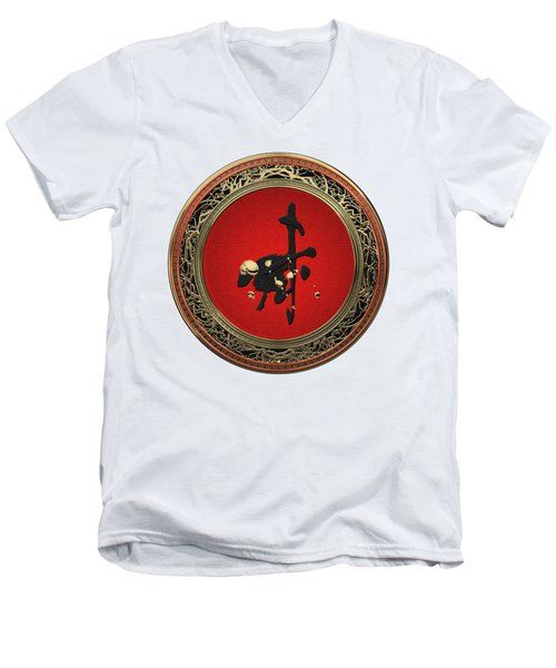 Chinese Zodiac - Year Of The Goat On White Leather Men's V-Neck T-Shirt