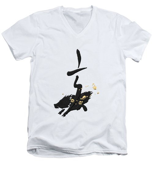 Chinese Zodiac - Year Of The Pig On Rice Paper Men's V-Neck T-Shirt