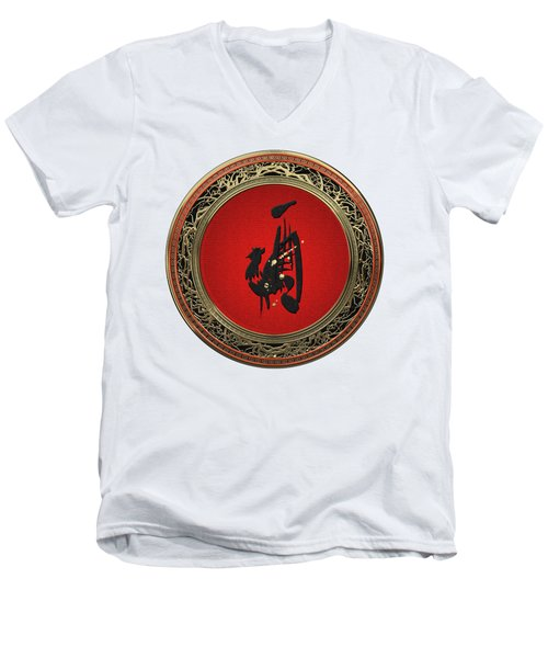 Chinese Zodiac - Year Of The Rooster On White Leather Men's V-Neck T-Shirt