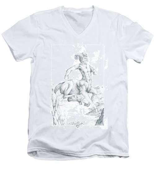 Men's V-Neck T-Shirt featuring the drawing Chiron The Centaur by Curtiss Shaffer