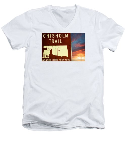 Chisholm Trail Oklahoma Men's V-Neck T-Shirt by Bob Pardue