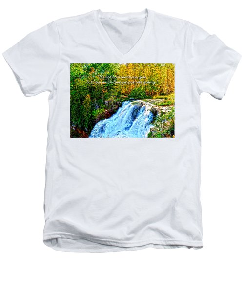 Men's V-Neck T-Shirt featuring the photograph Chittenango Falls, Ny Mother Teresa  by Diane E Berry
