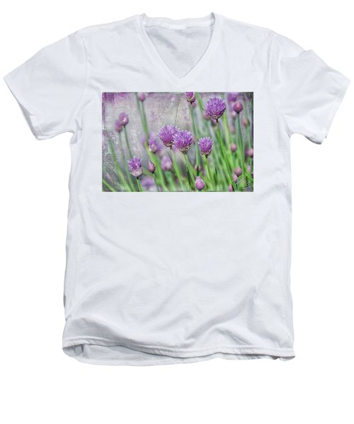 Chives In Texture Men's V-Neck T-Shirt by Debra Baldwin