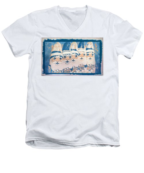 Men's V-Neck T-Shirt featuring the photograph Chocolate Santas by Bellesouth Studio