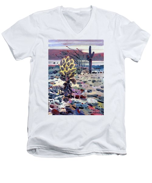 Cholla Saguargo And Ocotillo Men's V-Neck T-Shirt by Donald Maier