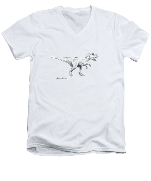 Men's V-Neck T-Shirt featuring the drawing Tyrannosaurus Rex Dinosaur T-rex Ink Drawing Illustration by Karen Whitworth