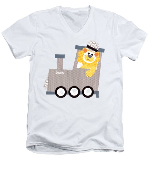 Choo Choo T-shirt Men's V-Neck T-Shirt by Herb Strobino