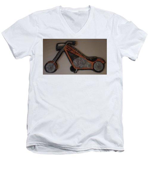 Chopper2 Men's V-Neck T-Shirt by Val Oconnor