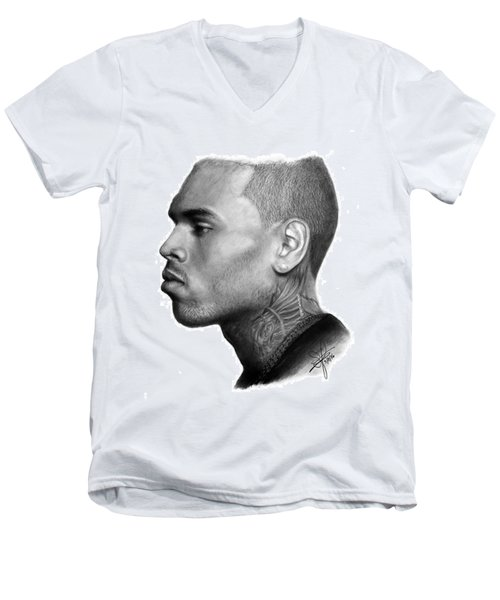 Chris Brown Drawing By Sofia Furniel Men's V-Neck T-Shirt