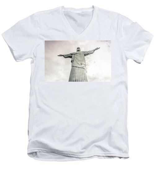 Men's V-Neck T-Shirt featuring the photograph Christ The Redeemer by Andrew Matwijec