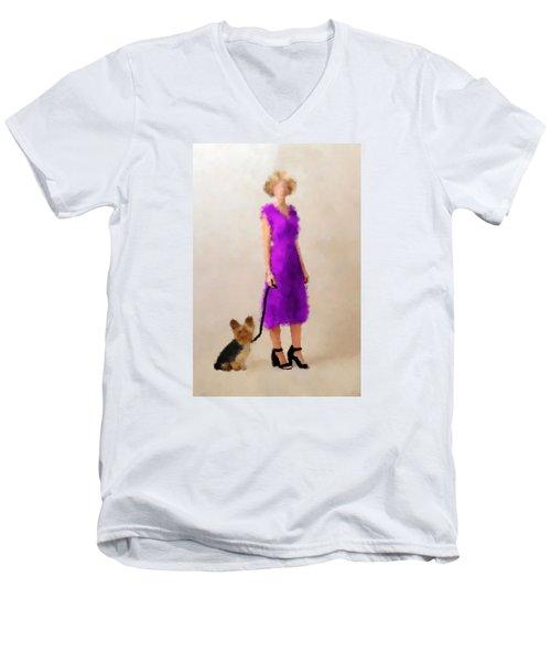 Men's V-Neck T-Shirt featuring the digital art Christina by Nancy Levan