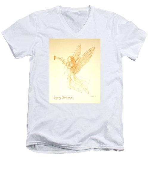 Christmas Angel With Trumpet Men's V-Neck T-Shirt by Deborah Dendler