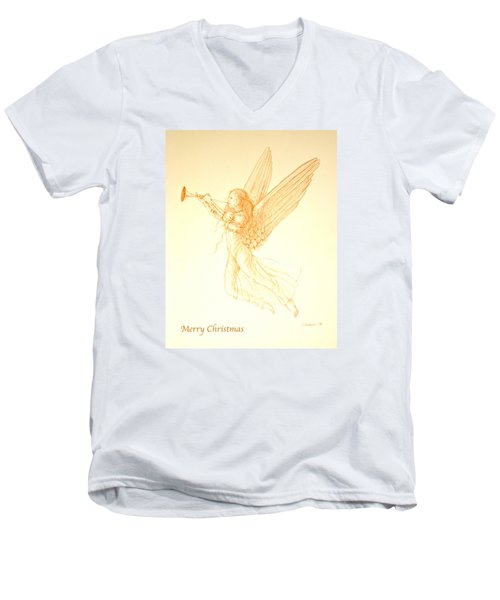 Christmas Angel With Trumpet Men's V-Neck T-Shirt
