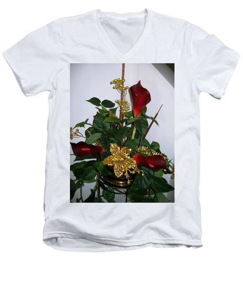 Christmas Arrangemant Men's V-Neck T-Shirt by Sharon Duguay