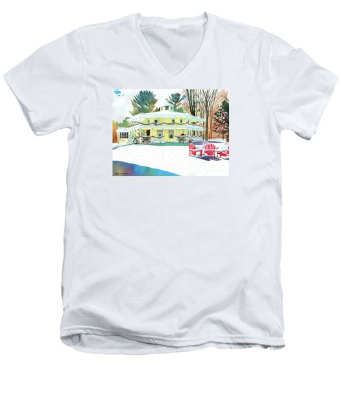 Men's V-Neck T-Shirt featuring the painting Christmas At The Hexagon House by LeAnne Sowa