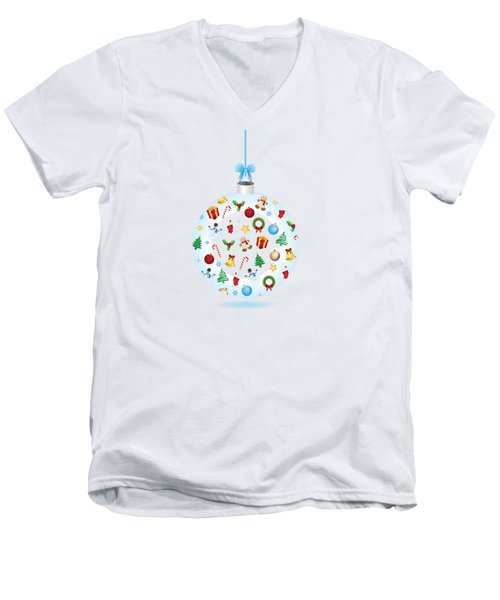 Christmas Bulb Art And Greeting Card Men's V-Neck T-Shirt