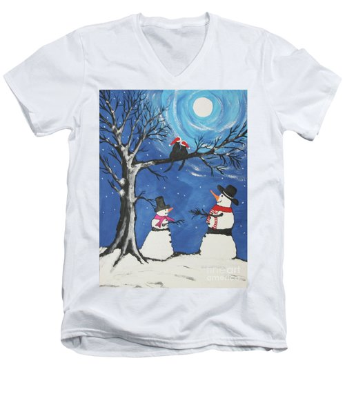 Christmas Cats In Love Men's V-Neck T-Shirt by Jeffrey Koss