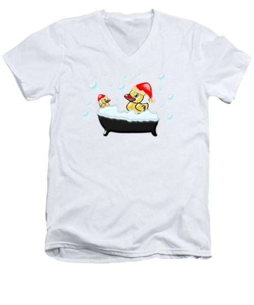 Christmas Ducks Men's V-Neck T-Shirt by Anastasiya Malakhova